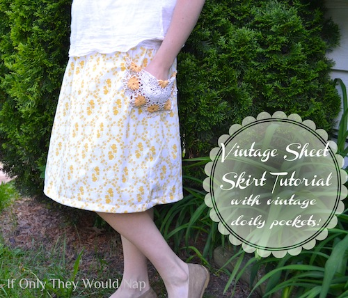 vintage sheet skirt tutorial