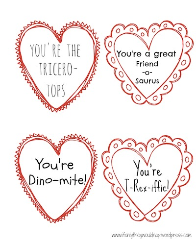 Dinosaur Valentine Printable copy
