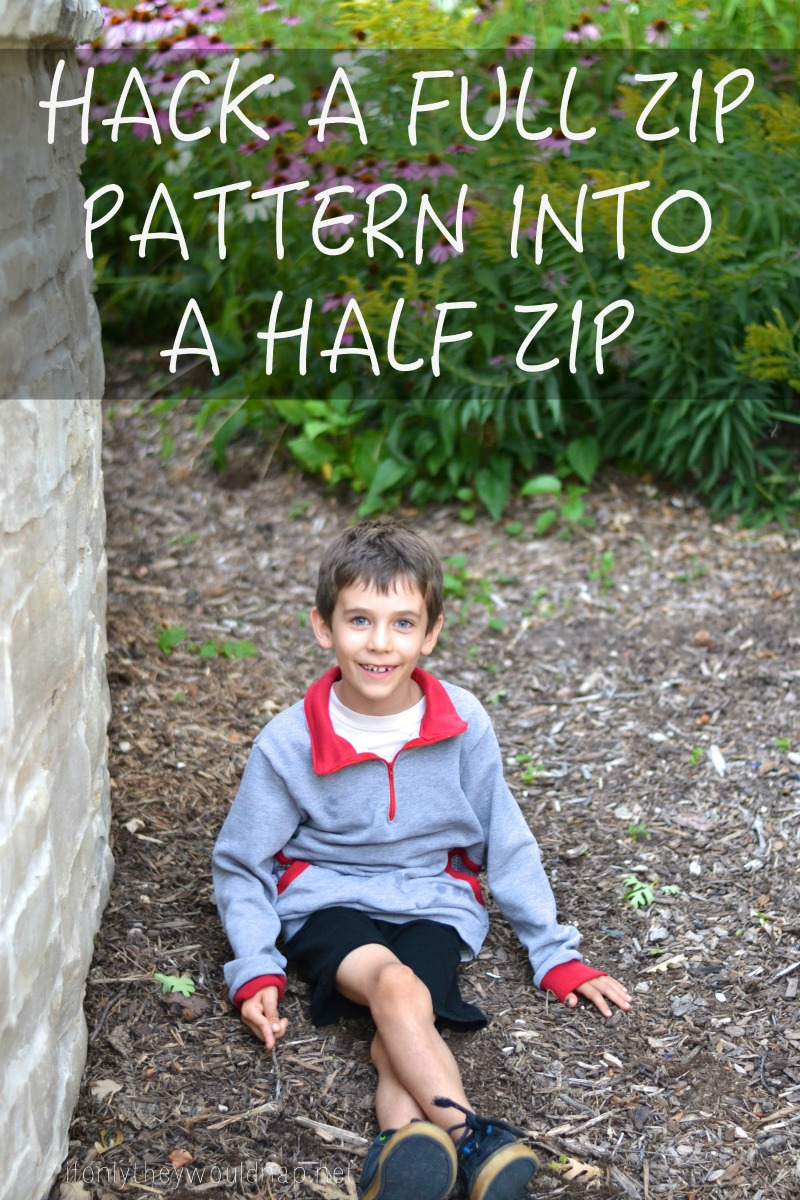 Hack a full zip pattern into a half zip
