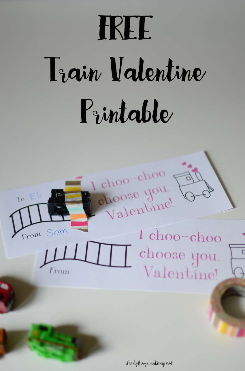 FREE Train Valentine Printable a great non-candy valentine option